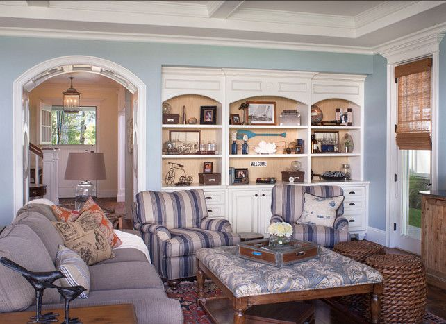 Family Room Design Comfortable Paint Color Is Benjamin Moore Yarmouth Blue