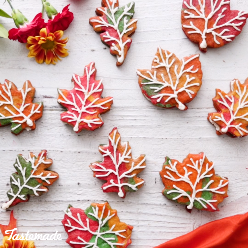 Fall Leaf Cookie Sandwiches