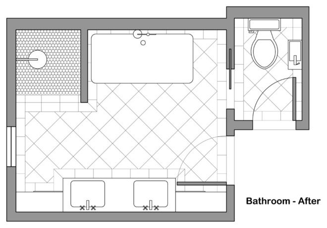 Traditional Floor Plan Bath Potter Cool Idea For Hall Bathroom Houzz Bathroom Floor Plans Floor Plans Diy House Renovations