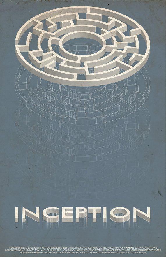 Inception Vintage Sci Fi Poster By Modernstylographer Affiche Minimaliste Affiches De Films Minimalistes