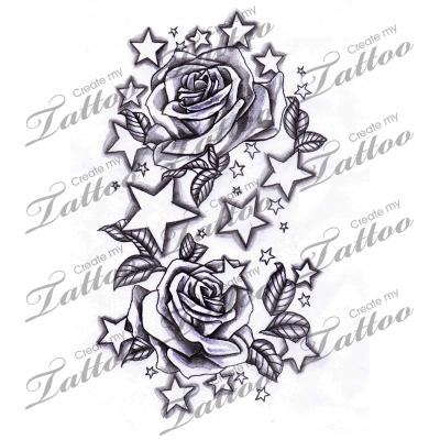 Marketplace Tattoo Stars And Roses 12338 Createmytattoo Com Star Tattoos Star Sleeve Tattoo Star Tattoo Designs
