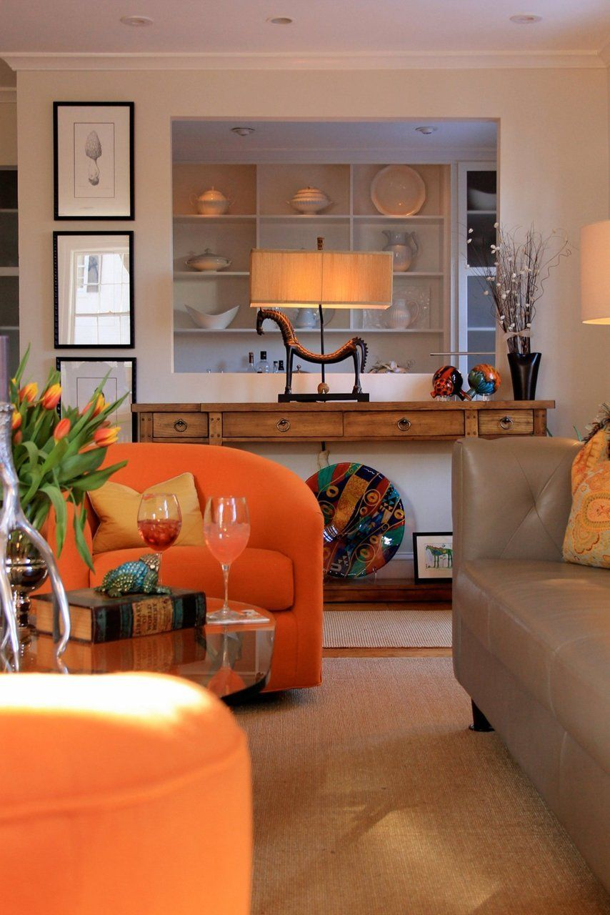 The 25 best orange leather sofas ideas on pinterest living room ideas with brown leather sofa - Brown and orange living room ...