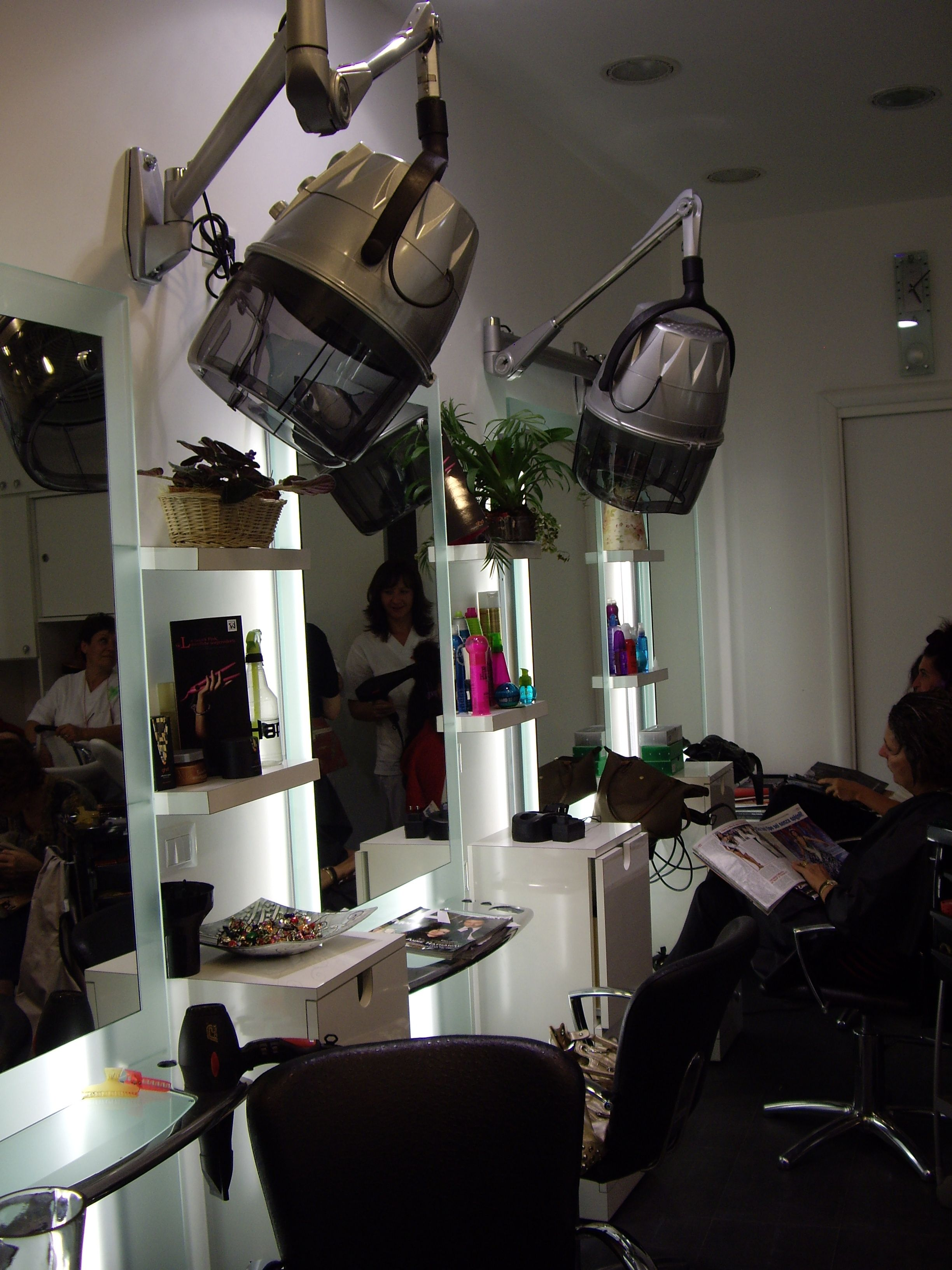 Inside Salon Rome Italy Dryers Mounted On Wall At Each