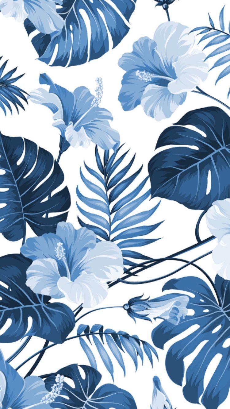 Blue Floral Wallpaper Hawaiian Wallpaper Landscape Wallpaper Watercolor Wallpaper Colorful Wallpaper