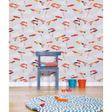 papier peint enfant poissons rouges japonais lilipinso h0202 poissons rouges pinterest. Black Bedroom Furniture Sets. Home Design Ideas