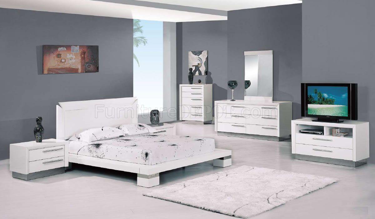White Gloss Bedroom Set White High Gloss Finish Modern Platform Bedroom White Bedroom Set Furniture Minimalist Bedroom Furniture White Gloss Bedroom Furniture