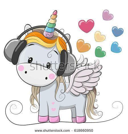 Cute Cartoon Unicorn with headphones and hearts (с ...