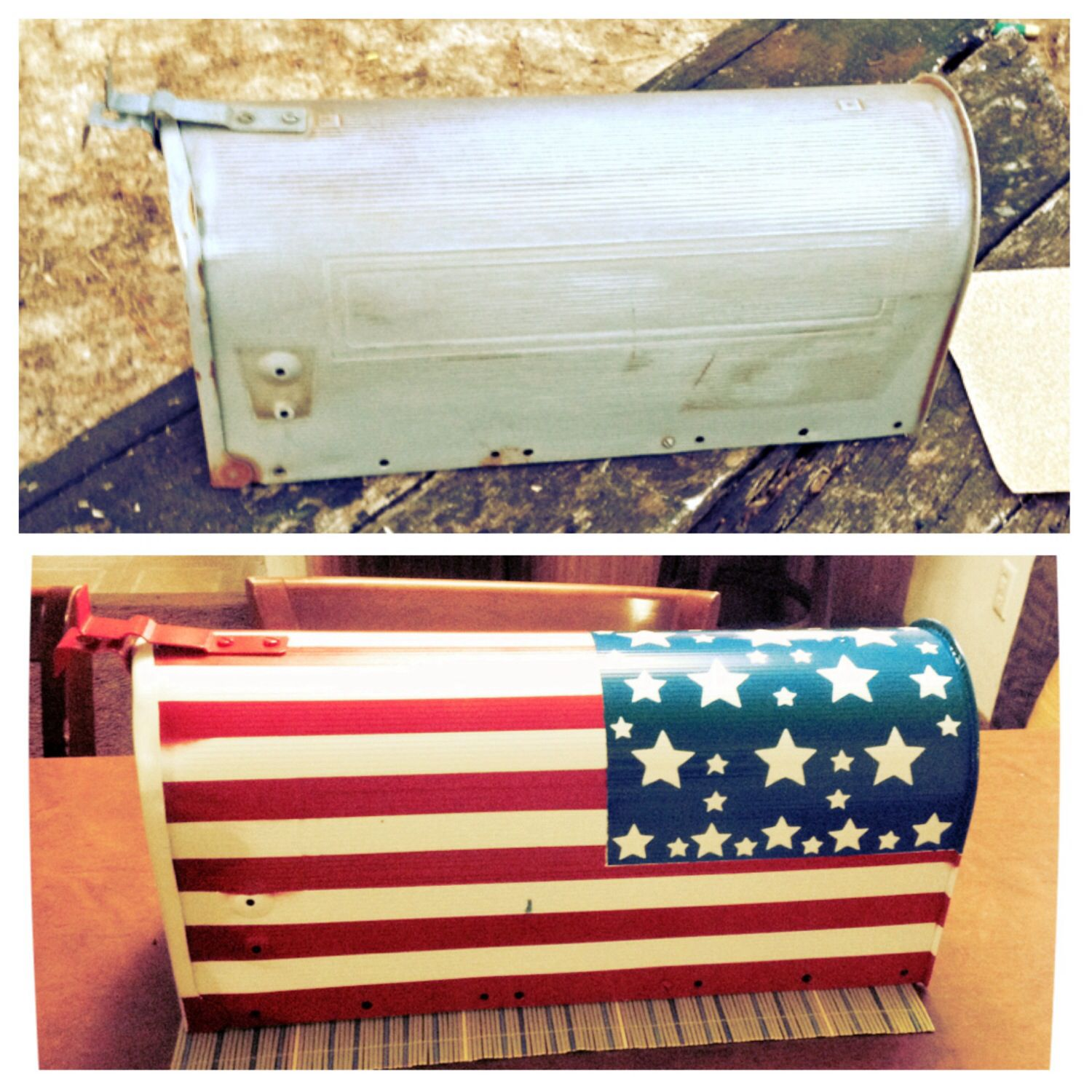 American Flag Mailbox, Hand Painted. DIY Project