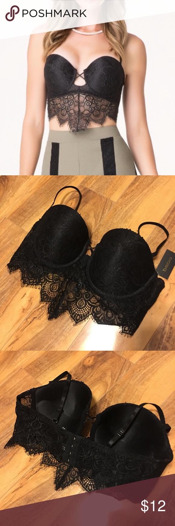 318ce08c06689 bebe Black Lace Bralette Size L Delicate