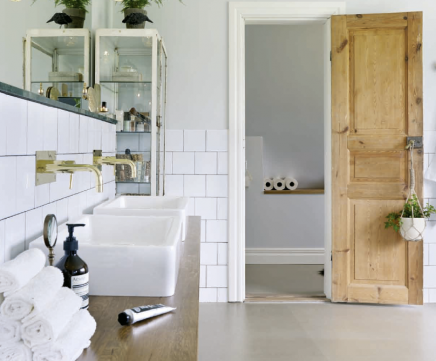 Gietvloer en half gestucte wanden in de badkamer | Bathrooms | Pinterest