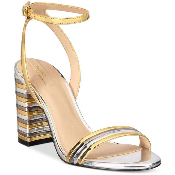 64f8088c2d Aldo Izabela Block-Heel Two-Piece Sandals ($80) ❤ liked on Polyvore  featuring shoes, sandals, gold, metallic shoes, metallic sandals, aldo shoes,  ...