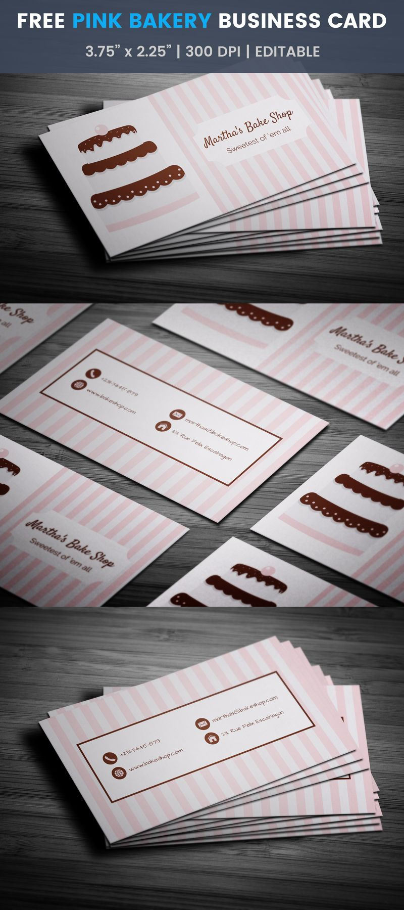 Pink Stripes Choco Cake Bakery Business Card Template Bake