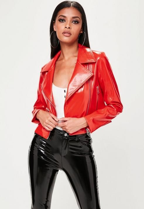 fb781720 Missguided Red Vinyl Biker Jacket | Style In Leather ~ | Vinyl ...