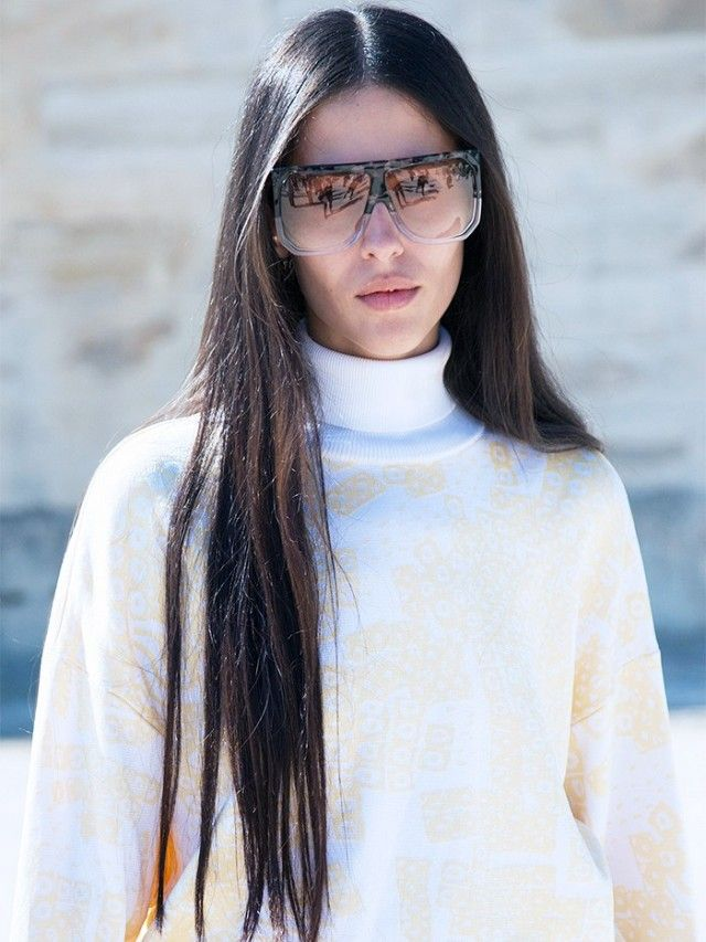 b8b7556ee3 Gilda Ambrosio at Paris Fashion Week S S 16. On Ambrosio  Loewe Filipa  Sunglasses (£295).
