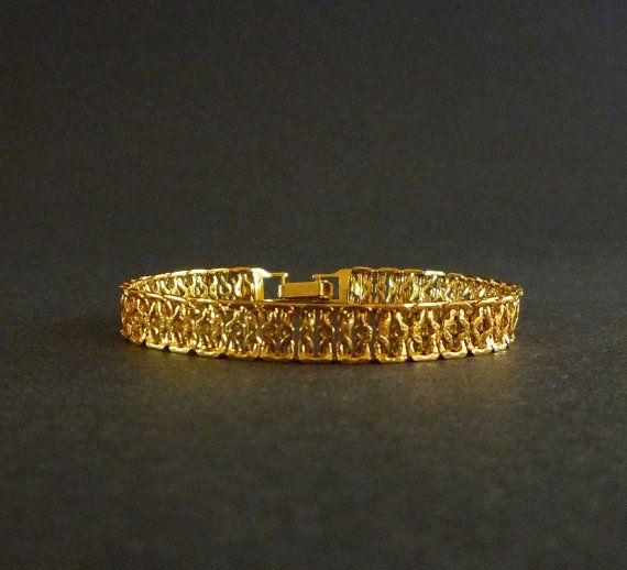 Vintage Napier Bracelet Gold Tone Slim Designer