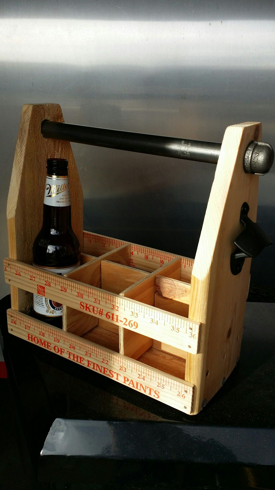 Beer Carrier And Condiment Caddy With Attached Bottle Opener Wood Beer Carrier Craft Beer Carrier Wine Country Gift Baskets