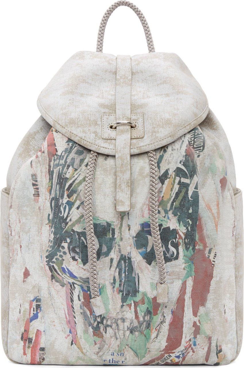 Alexander McQueen: Silver Airbrushed Leather Collage Skull Backpack | SSENSE