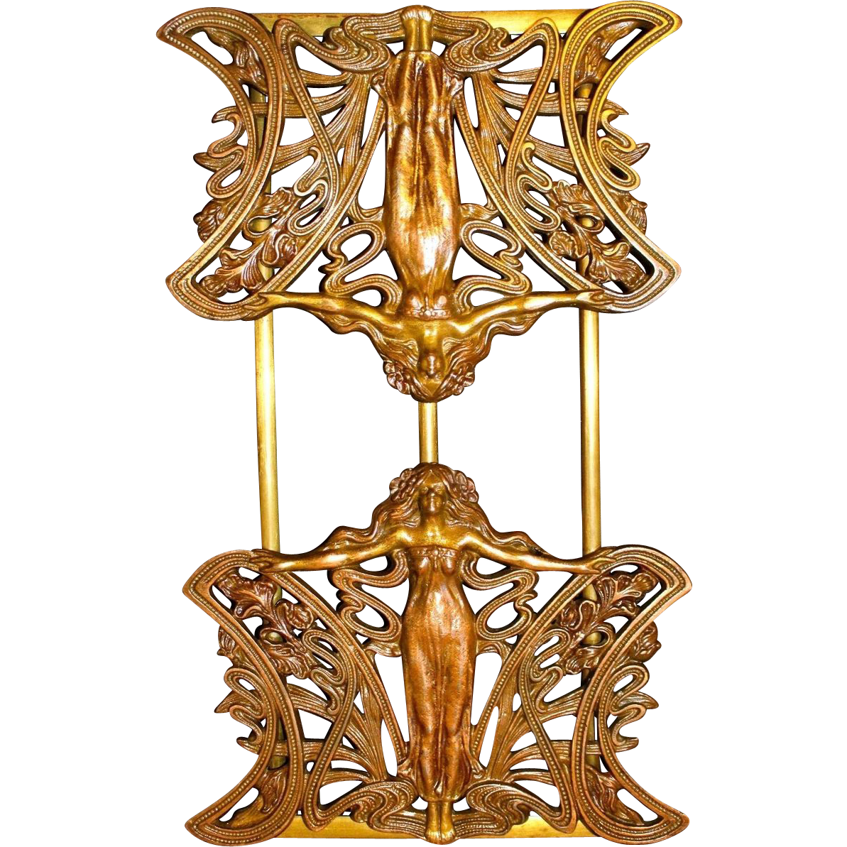 Exquisite Art Nouveau Bronzed Maiden Bookrack C. 1900