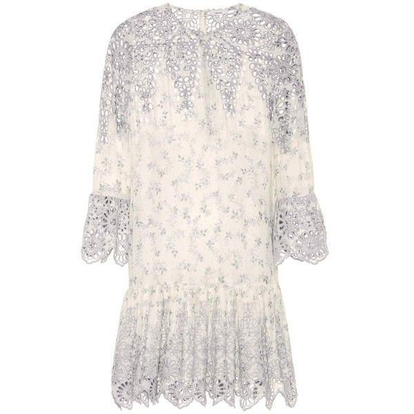 Ganni Emile Lace-Trimmed Printed Dress (€220) ❤ liked on Polyvore featuring dresses, white, white day dress, ganni, ganni dress, lace trim dress and white dress