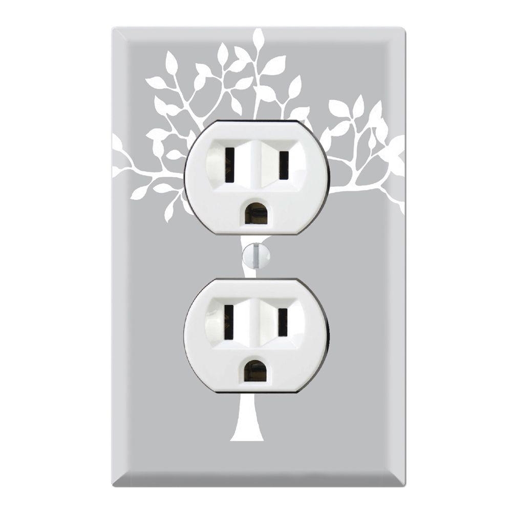 Decorative Wall Plate Cover White Tree In Grey Backgound