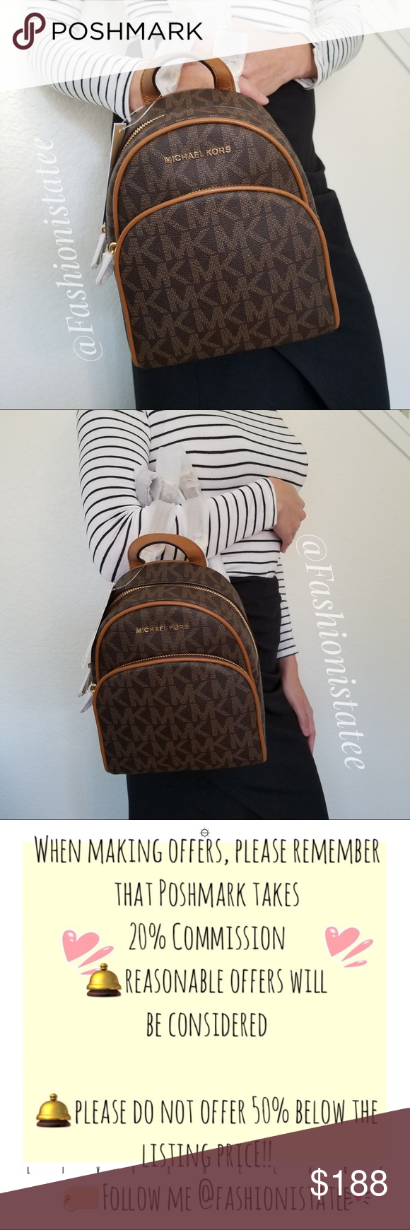 18c7bc2e6fd0 NWT MICHAEL KORS ABBEY BROWN ACORN BACKPACK SMALL New With Tag 100%  Authentic This list