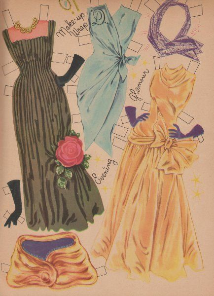 Doris Day 1955 paper doll evening gowns