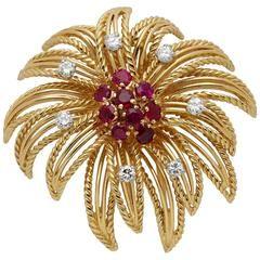 Boucheron Paris 1950s Diamond Ruby Gold Firework Brooch