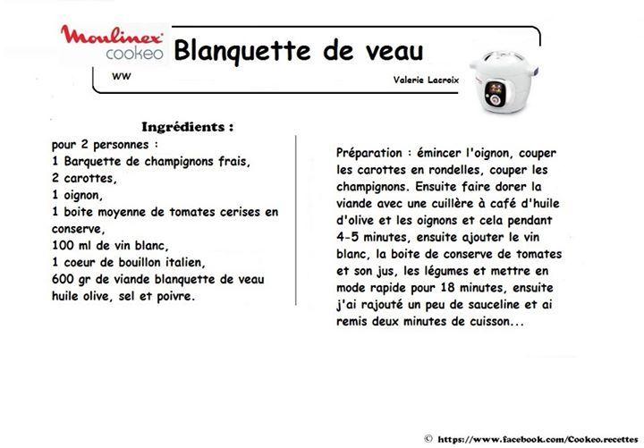 BLANQUETTE DE VEAU WW 6PP | Veau marengo, Cookeo recette ...