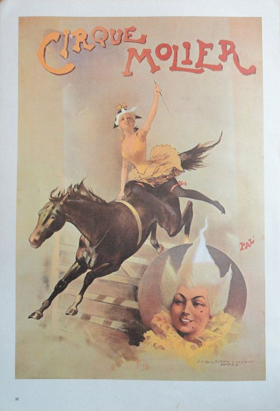 Vintage Circus Poster Cirque Molier Woman White Hair by KingPaper, $10.00