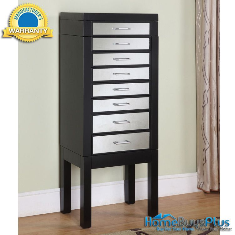 Powell Mirrored Mirror Black Jewelry Armoire Storage Chest