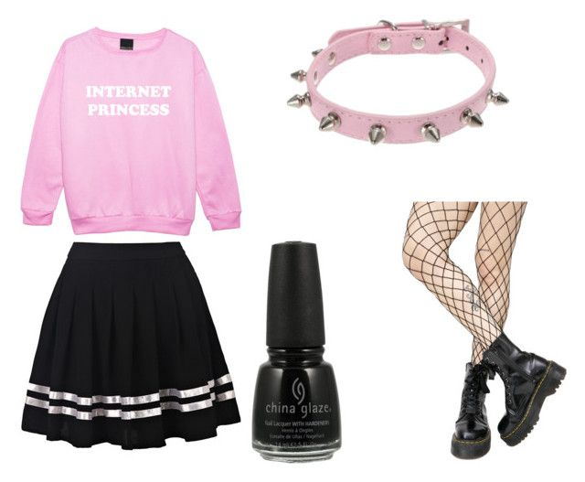 Pastel Goth En Rose by triviakitty on Polyvore featuring Leg Avenue and China Glaze