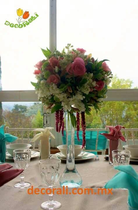Centro mesa rosas  Roses centerpiece