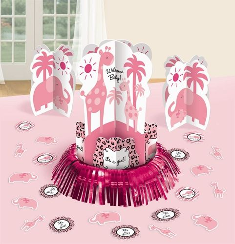 $6.97 decorative table centerpiece kit for your Sweet Safari Girl baby shower!  Our 23-piece Sweet Safari Girl Table Decorating Kit includes:One 12 inch tall centerpiece with foil fringe Two 7 inch tall standup centerpieces Twenty 2 inch confetti  http://www.partypail.com/sweet-safari-girl-table-decorating-kit.html