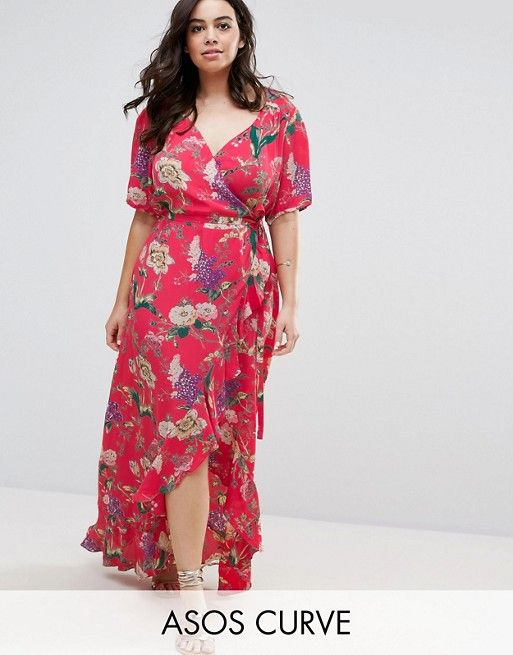 8ce745fc921 CURVE Maxi Tea Dress with Ruffle Detail in Floral Print