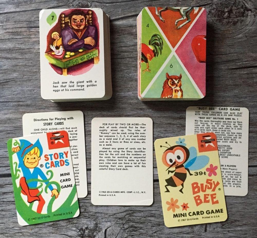 Vtg 1967 Ed U Cards Mini Card Games Busy Bee Nursery Rhymes Story ...