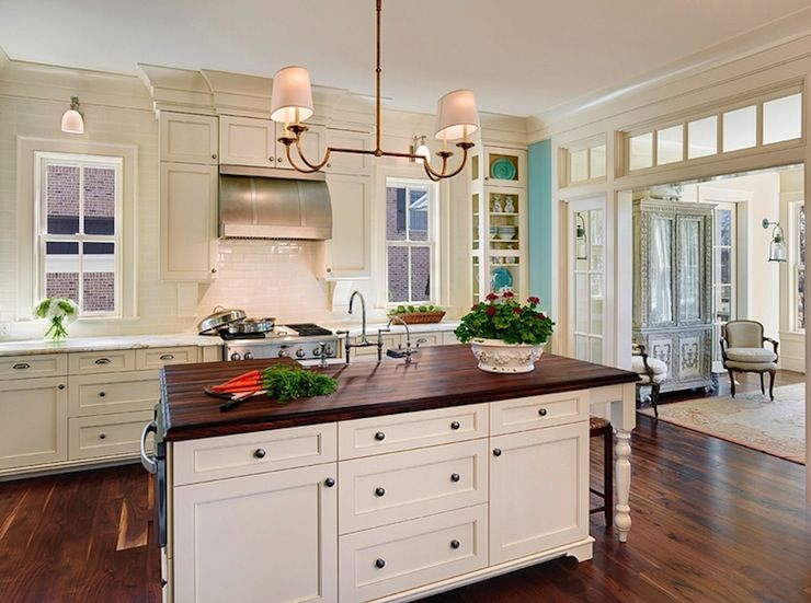Wood Kitchen Countertop Traditional Kitchen From Cream Kitchen Cabinets  With White Trim