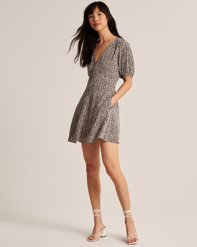 New Soft Leopard Animal Print Wrap Dress Party Casual Size 6 8 10 12 XS S M L