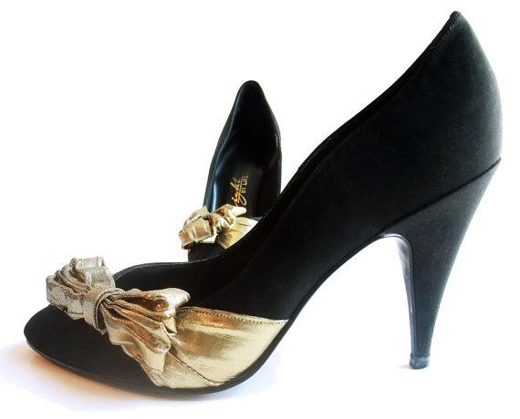 Items similar to Vintage Shoes Black Evening High Spike Heel Pumps Gold  Ruffle Bow 7 Narrow Heel on Etsy 00b63cba689c