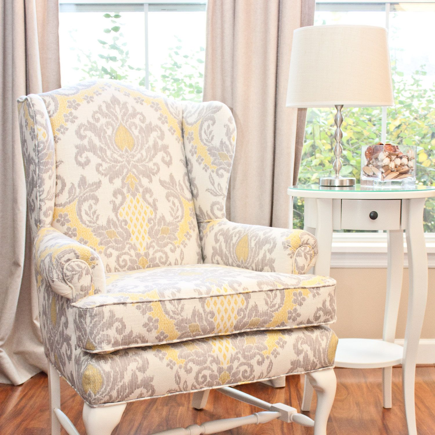 Yellow And Gray Wing Back Chair...cozy Up Next To The Fireplace With A Good  Book!