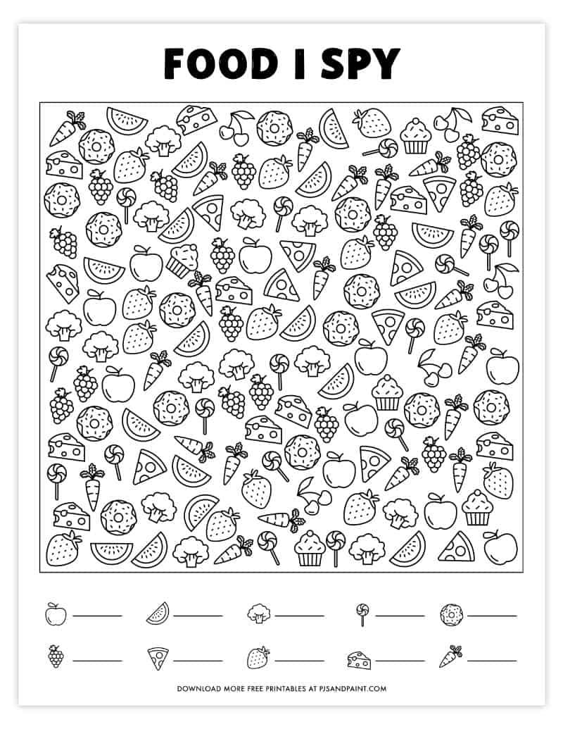 Free Printable I Spy Game Food Themed I Spy I Spy Games Spy Games Kids Learning Activities [ 1035 x 800 Pixel ]