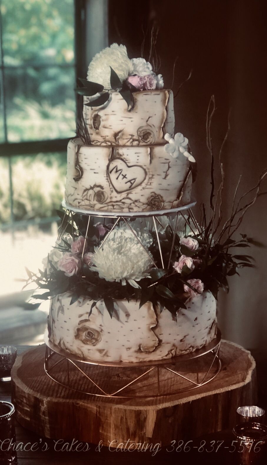 Birch Tree New Years Eve Wedding Cake Dragonfly In Memory Of