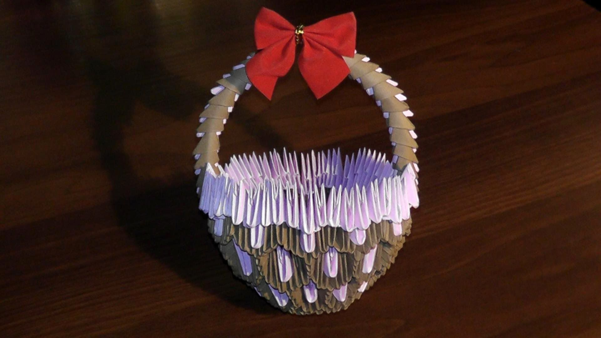 3d Origami Basket With Handle Master Class Tutorial Video