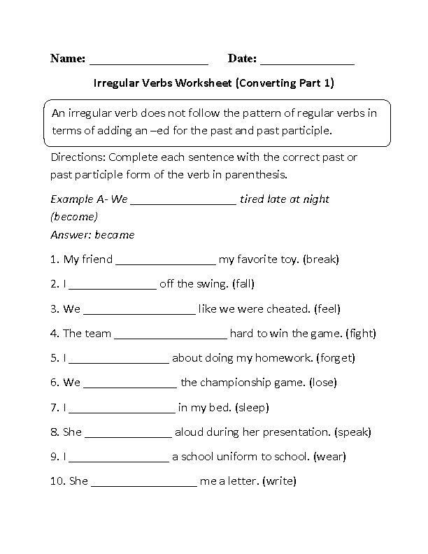 Irregular verbs | English Grammar Practices | Pinterest