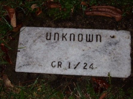 """Unknown""  possibly a body found without a stone in the Patterson-McCloud Cemetery which was unearthed and moved prior to the completion of Alum Creek Dam in the 70's  Williamsville Cemetery  Lewis Center, Ohio"