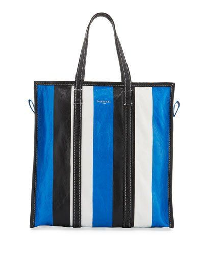BALENCIAGA Bazar Medium Striped Leather Shopper Tote Bag 8064634d05a0f