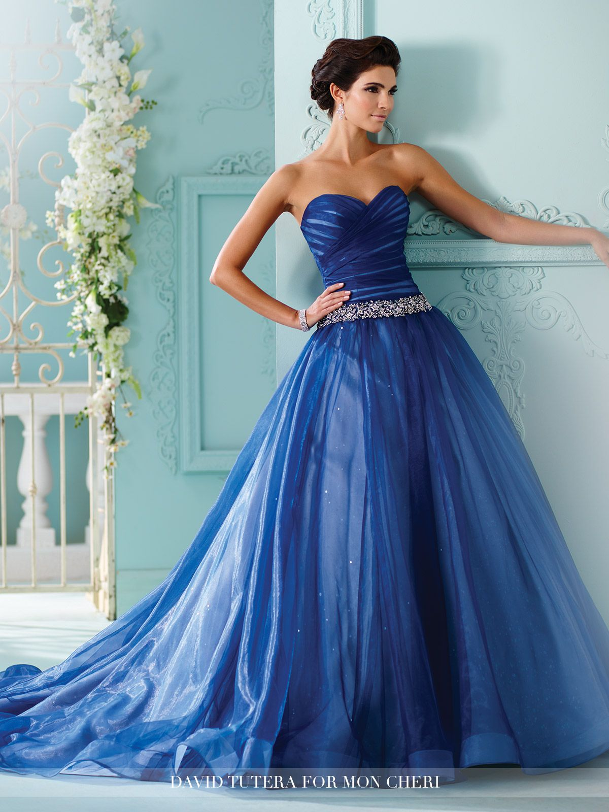 Strapless Sequined Tulle Ruched Bodice Wedding Dress- 216257 Indigo