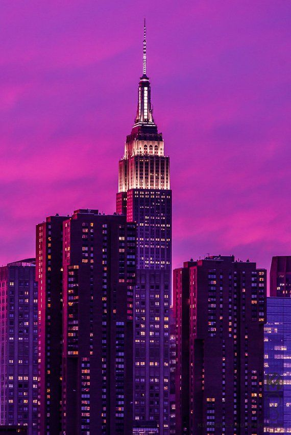 Empire State Building Sunset New York City Purple New York Wallpaper Purple City Building Aesthetic