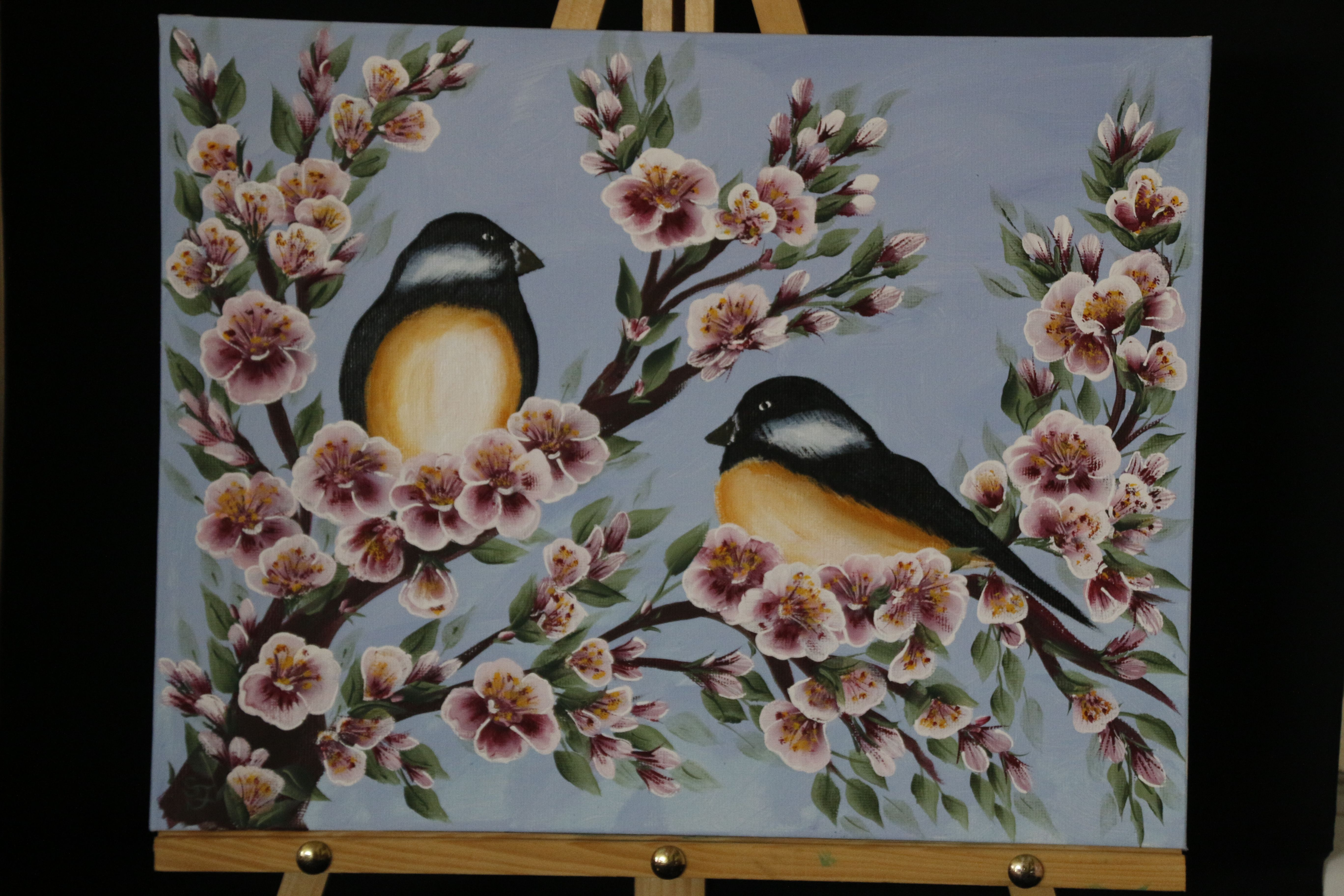 Birds On Cherry Blossoms Painted Using One Stroke Method