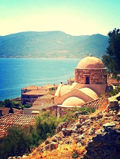 Looking out to sea from Monemvasia old town - in The Mani