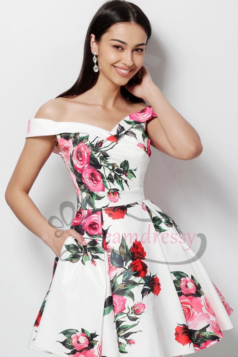 Unique off the shoulder floral short homecoming dress with pockets